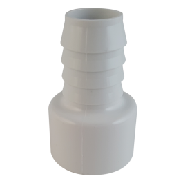 White PVC Barbed Adapter (Barb x Soc)